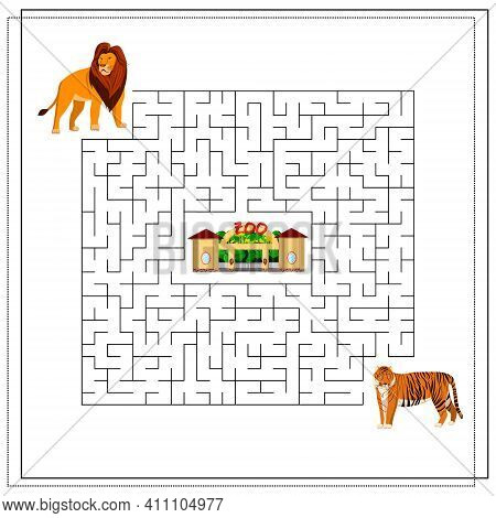 A Maze Puzzle Game For Kids. Help Me Get Through The Maze. Lion, Tiger, Zoo. Vector Illustration Iso