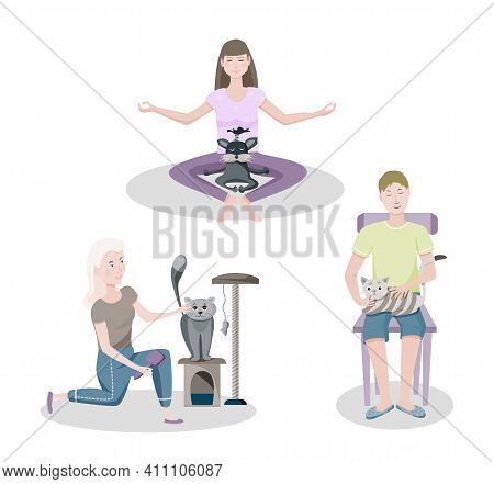 Set Of Happy Pet Owners. Smiling People Having Fun And Caring For A Four-footed Friends. Vector Cart