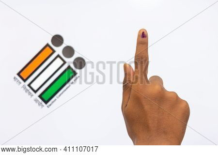 Chennai,india - 5th March 2021: Indian Voter Hand With Voting Sign And Ink Pointing Vote For India B