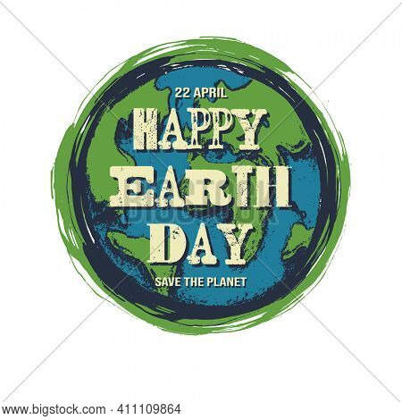 Happy Earth Day Concept With The Earth in Flat Layer Design. Jpeg version.