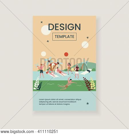 Happy Young People Enjoying Vacation On Beach. Friends, Sunbathing, Tropical Seaside Flat Vector Ill