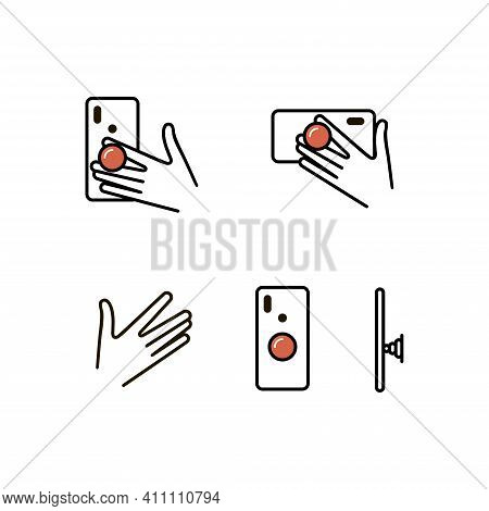 Pop Socket Vector Icon Set. Holder For Mobile Phone.  Accessory For Smartphone.