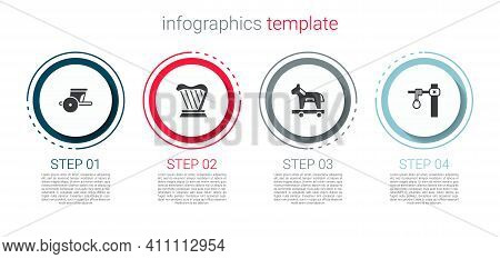 Set Ancient Chariot, Harp, Trojan Horse And Gallows. Business Infographic Template. Vector