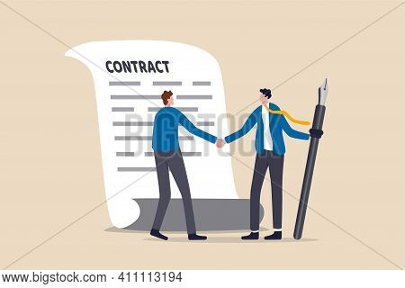 Signing Contract, Business Deal Or Partnership, Banking Loan, Investment Contract Or Job Offer Agree