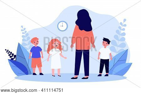 Woman Looking After Upset Children. Mother, Babysitter, Crying Kids. Flat Vector Illustration. Dayca