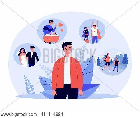 Man Recalling His Happy Life Events. Wedding, Child Raising, Fatherhood. Flat Vector Illustration. L