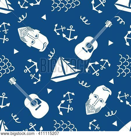 Boats, Male Face, Anchors, Guitar Vector Seamless Pattern Background. Blue White Backdrop With Yacht