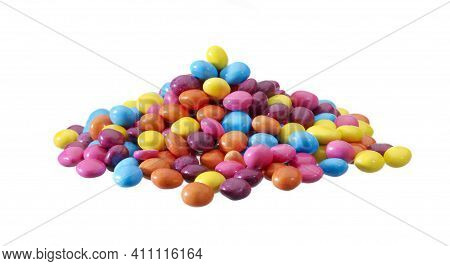 Candies. Colorful Bright Chewy Candies Covered With Sugar. Colorful Jelly Candies. Candy Background.