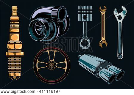 Vintage Car Repair Elements Set. Monochrome Parts And Tools, Retro Engine, Wrenches Concept. Vector