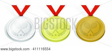 Set Of Sport Tennis Medals With Emblem Of Crossed Sports Tennis Rockets And Ball For Tennis With Lau