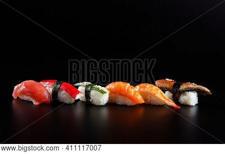 Japanese Cuisine Sushi. Fresh And Delicious Sushi Roll.