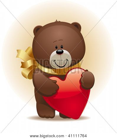 Valentines illustration with small cute bear with bow & heart