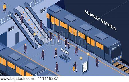 Subway Underground Metro Station Isometric Composition With Passengers Descending Escalator Boarding