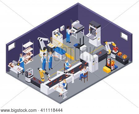 Footwear Shoes Production Isometric Composition With View Of Production Department With Conveyor Fac