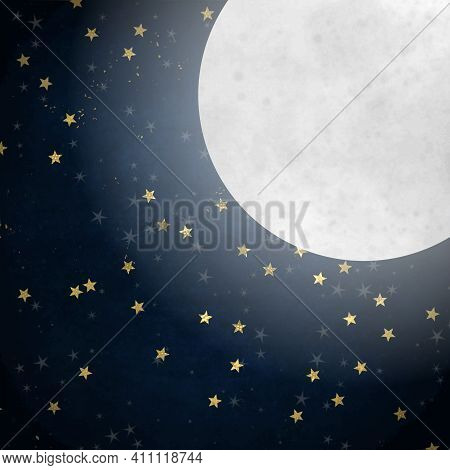Artistic Design Of A Night Sky With A Bright Glowing Moon And Gold Stars.