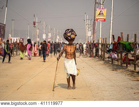 Feburary 2021 Haridawar,india An Old Man Or Pilgrim During The Kumbh Mela In Haridawar.kumbh Is The