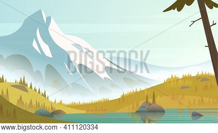 Great Snow Mountain By The Lake Shore On A Fresh Calm Clean Autumn Day. Cartoon Modern Style Landsca