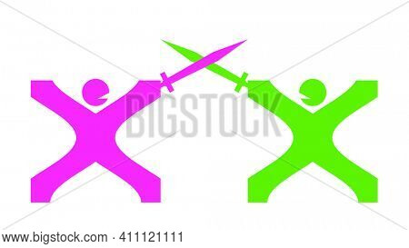 An illustration of a two abstract sword fighting men