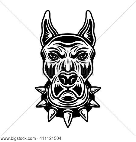 Dog Head In Spiked Collar Front View Vector Illustration In Vintage Monochrome Style Isolated On Whi