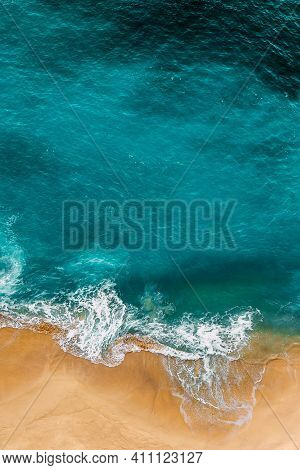 Clean Sea And Clean Beach. Clean Beach With Yellow Sand. Seascape Aerial Photography. Sea Coast, Vie