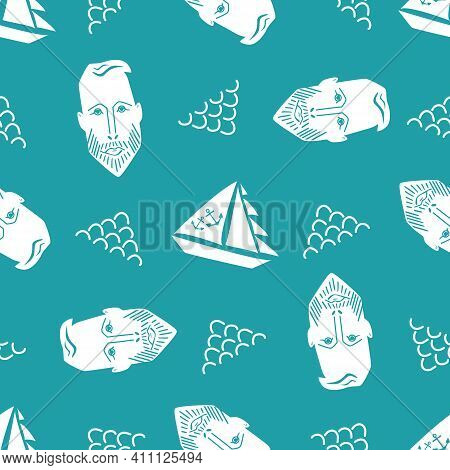 Boats, Male Face And Abstract Wave Vector Seamless Pattern Background. Aqua Blue White Backdrop With