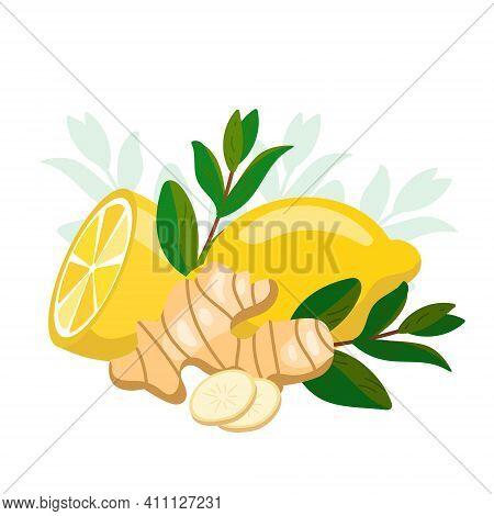 Lemon With Ginger And Mint. Natural Medicine, Antiflu Ingredients. Ginger Root, Melissa Green Herb L