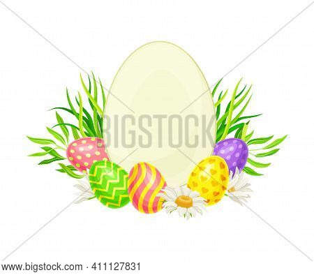 Oval Frame With Decorated Easter Eggs Or Paschal Eggs Rested In Green Grass With Spring Flowers Vect