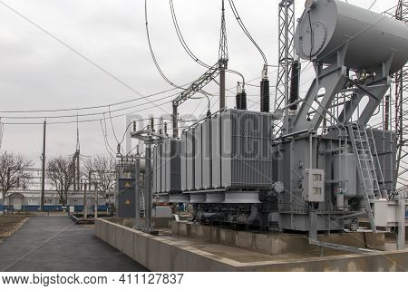 High Voltage Power Transformer Substation. Equipment Used In The Power Plant. High Voltage