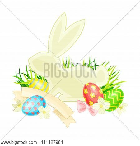 Easter Bunny With Paschal Eggs Rested In Green Grass With Spring Flowers And Ribbon Vector Arrangeme