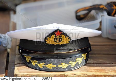 Ljubljana, Slovenia - October 12, 2014:  Old Yugoslavia Navy Hat With Red Star Symbol At Antique Mar