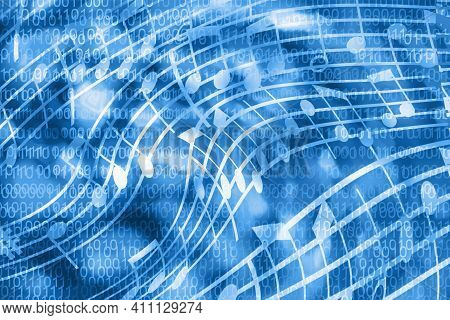 Abstract Blue Background In The Form Of Musical Notation And Binary Code. Concept: Artificial Intell