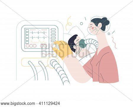 Medical Insurance Illustration- Mechanical Ventilation -modern Flat Vector Concept Digital Illustrat