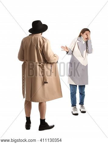 Exhibitionist Exposing Naked Body Under Coat In Front Of Young Woman Isolated On White