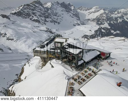 Cableway And Restaurant Of Stand Over Engelberg On The