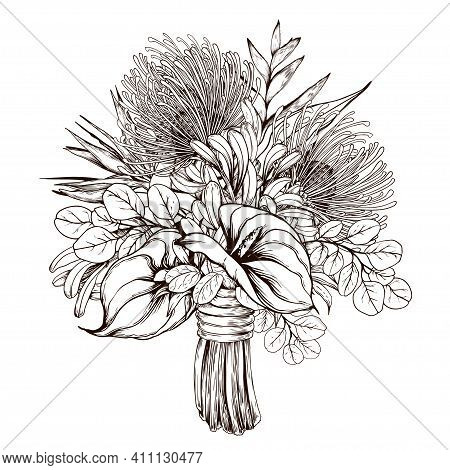 Exotic Bouquet With Protea And Anthurium Flowers. Hand Drawn Illustration Isolated On White Backgrou