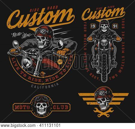 Custom Motorcycle Vintage Colorful Labels With Crossed Wrenches Skeleton Bikers Riding Motorbikes Sk