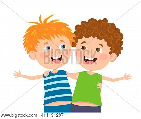 Vector Illustration, Happy Friends Of Friends, Children S Sincere Friendship. Suitable For Web Desig