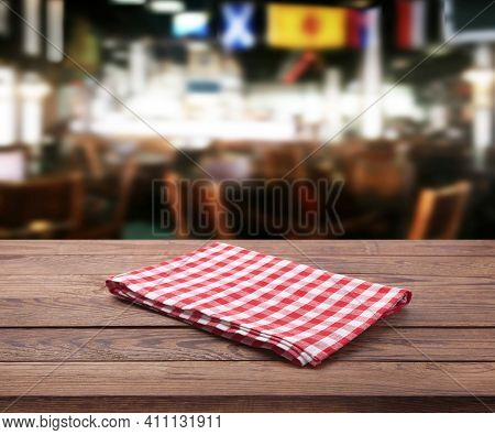 Kitchen Towel On Empty Wooden Table. Napkin Close Up Top View Mock Up For Design. Kitchen Rustic Bac
