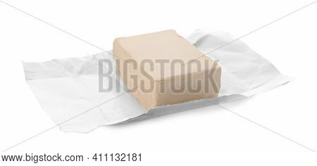 Unwrapped Block Of Compressed Yeast On White Background
