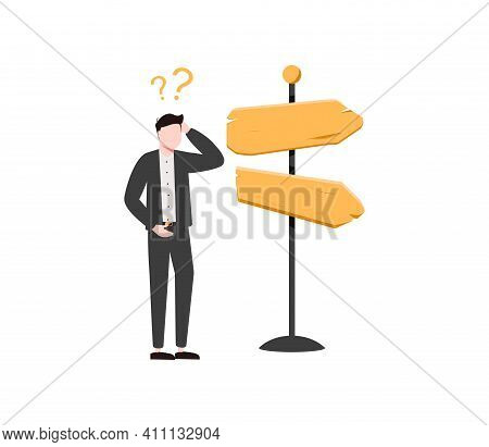 Business Decision Making, Career Path, Work Direction Or Choose The Right Way To Success Concept, Co
