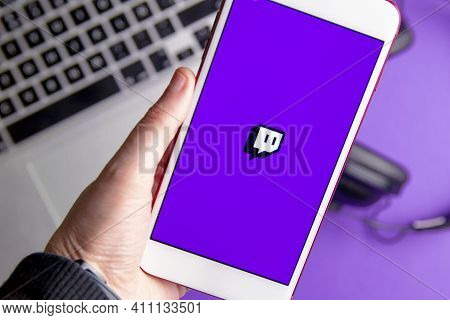 Spain. 03, 05, 2021. Closeup Of Smartphone Screen With Logo Lettering Of Video Live Streaming Platfo