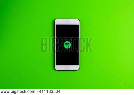 Spain. 03, 05, 2021. An Iphone Screen Showing Spotify Icon, Perfect For Listening Musics On The Go