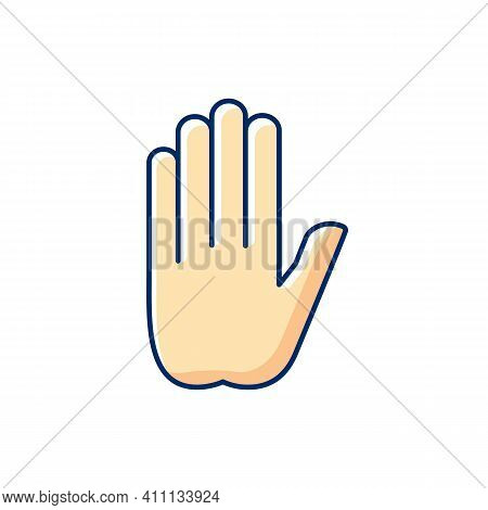 Stop Gesture Rgb Color Icon. Prohibition Of Something. Palm Of A Hand With Five Fingers. Strict Ban