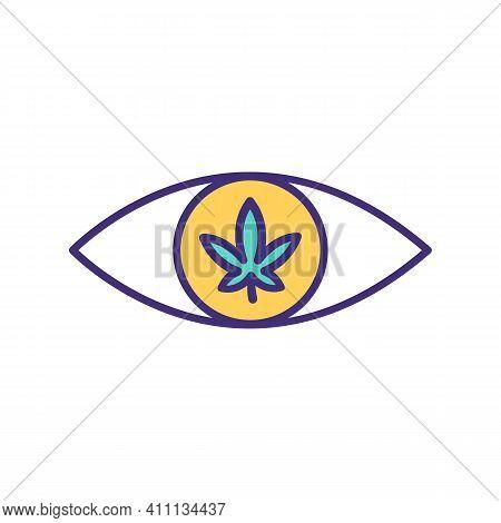 Overdose On Marijuana Rgb Color Icon. Opioids, Stimulants Use. Acute Intoxication With Cannabis. Ext