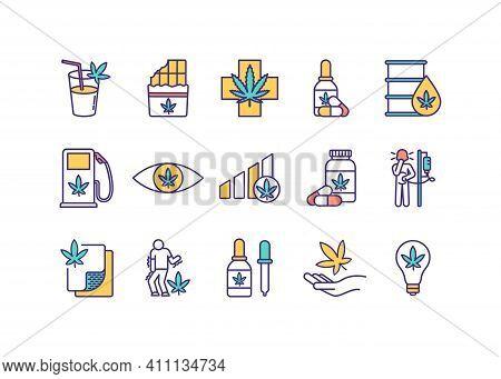 Cannabis Consumption Rgb Color Icons Set. Drinkable Marijuana. Herbal Remedy. Industrial Hemp. Canna