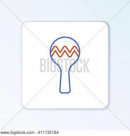 Line Maracas Icon Isolated On White Background. Music Maracas Instrument Mexico. Colorful Outline Co