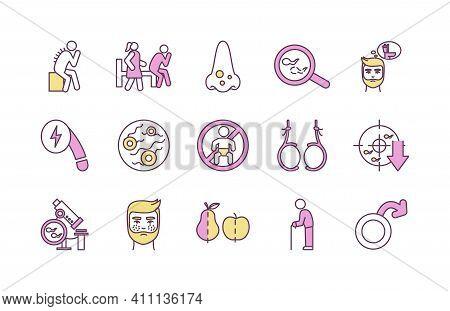 Health Risks For Men Rgb Color Icons Set. Back Hair. Erectile Dysfunction. Nose Acne. Male Infertili