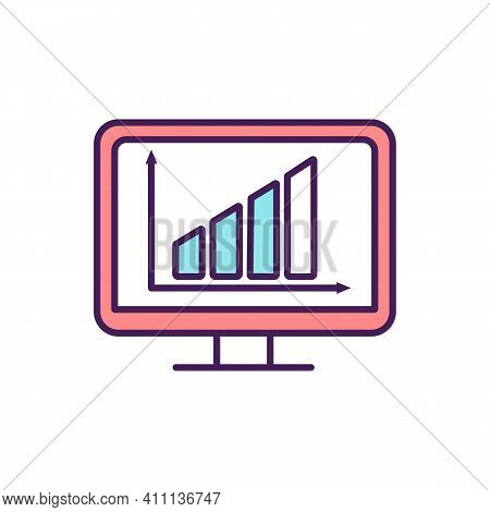 Digitalization Rgb Color Icon. Digital Technologies Usage. Existing Data And Documents Conversion In