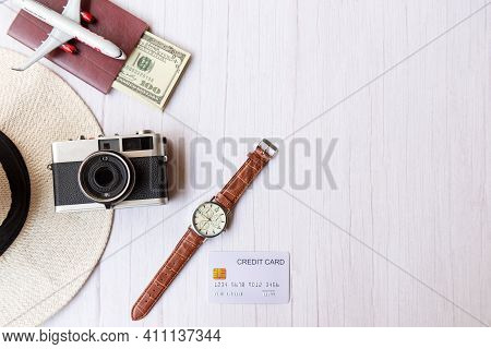 Top View Of Traveler Item Accessories And Credit Card With Tourism Backpack And Visiting For Plannin