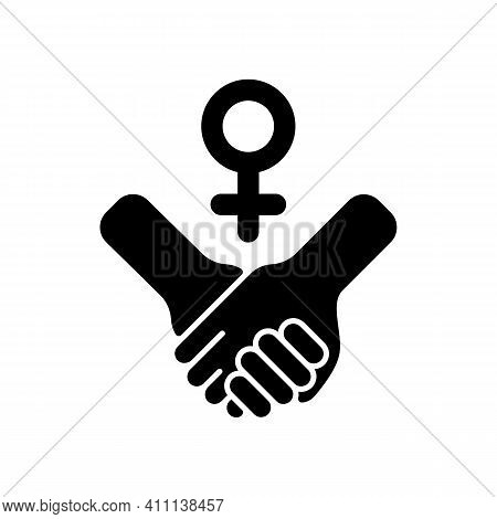 Girl Power Black Glyph Icon. Struggle For Women Rights. Women Cooperation. Motivation Quote. Woman E